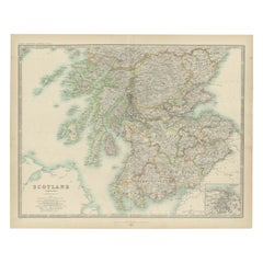 Antique Map of Scotland ( Southern ) by Johnston (1909)