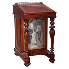 Antique Diminutive Burl & Mahogany Davenport Desk with Watercolor Panels, c1880