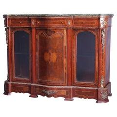 French Louis XV Kingwood, Satinwood, Marble & Figural Ormolu Sideboard, 20th C