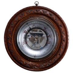 Antique Carved Walnut Wall Barometer, Circa 1890