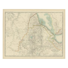 Antique Map of Abyssinia with Upper Nubia by Johnston, '1909'