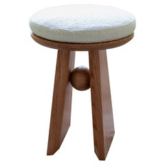 Basurto 01 Contemporary Wooden and Fabric Stool
