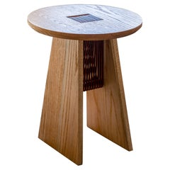 Basurto 02 Contemporary Wooden Stool with Leather Details