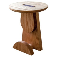 Basurto 03 Contemporary Wooden Stool with Leather details