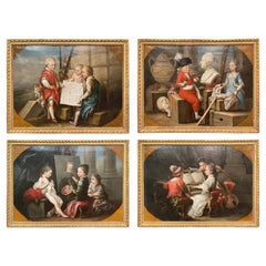 18th Century Allegorical Paintings in Gilt Frame after C. Van Loo, Set of Four