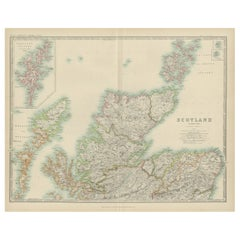 Antique Map of Scotland 'Northern' by Johnston, '1909'