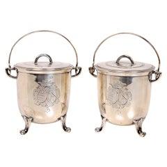 Pair of French Silver Jam, Mustard or Pots de Creme Pots, c1900