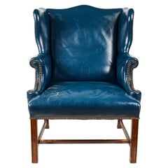 Antique Blue Leather Wingback Chair