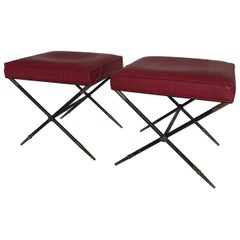 Pair of Embossed Leather X-Base Stools by Tommi Parzinger