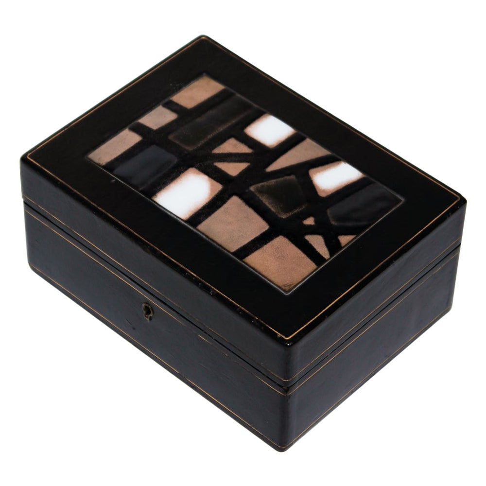 1960's Modernist Italian Tooled Leather and Enameled Copper Box