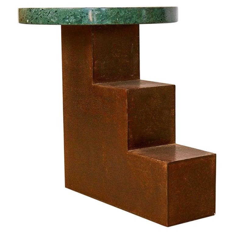Unique Escalier Metal Side Table with Marble by Jean-Baptiste Van den Heede