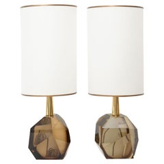 Pair of Diamond Fume Glass Table Lamps, in Stock