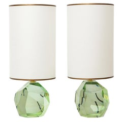 Pair of Faceted Murano Translucent Green Glass Table Lamps, in Stock