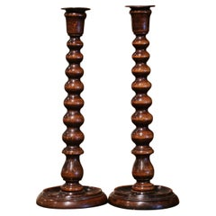 Pair of 1920's English Victorian Carved Oak Bobbin Turned Candlesticks