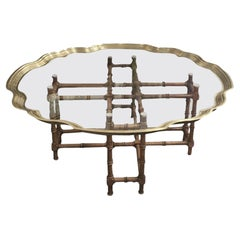 Vintage Gilded Glass Coffee Table with Cane Base