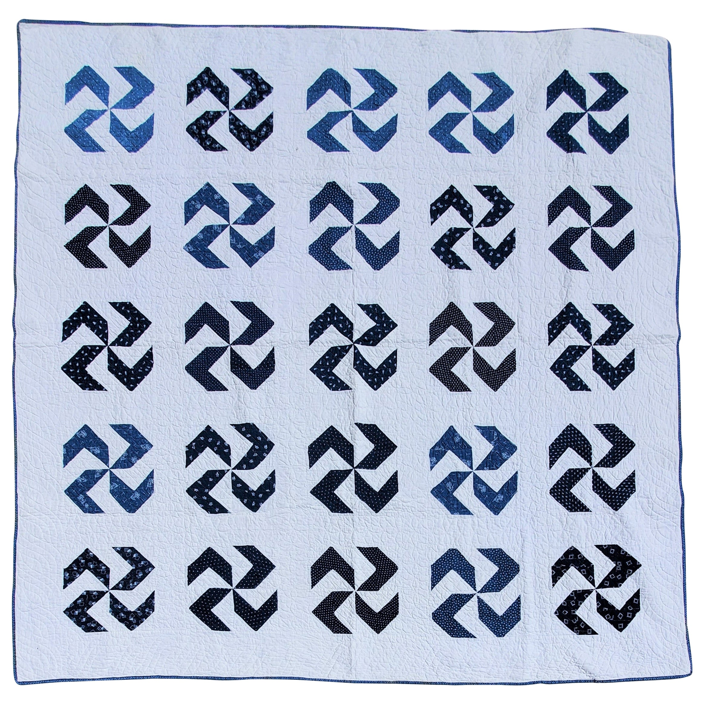 19Thc Whirling Logs Blue & White Quilt