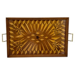 Don Shoemaker Style Serving Tray with Exotic Woods & Brass Handles