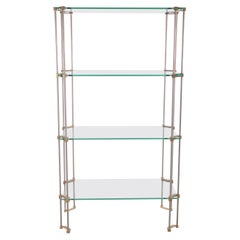 Ghyczy Wall Unit or Bookshelf Made of Glass with Brass, 1960s