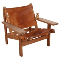 Mid-Century Leather and Oak Safari Chair by Kurt Østervig for KP Møbler
