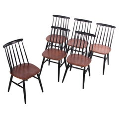 Set of 6 Ilmari Tapiovaara Dining Table Chairs Model Fanett, 1965