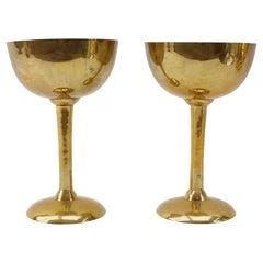 Pair Large Very Decorative Mid-Century Modern Brass Chalices, 1960s Austria