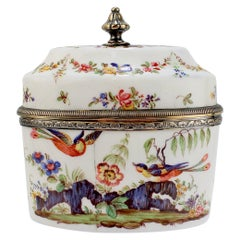 Antique 19th Century French Beaux-Arts Silver-Mounted Enamel Tea Caddy by Risler