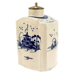 Antique English Blue & White Decorated Creamware or Pearlware Pottery Tea Caddy