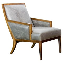 Modern Exotic Wood and Leather Lounge Chair from Costantini, Belgrano 'In Stock'