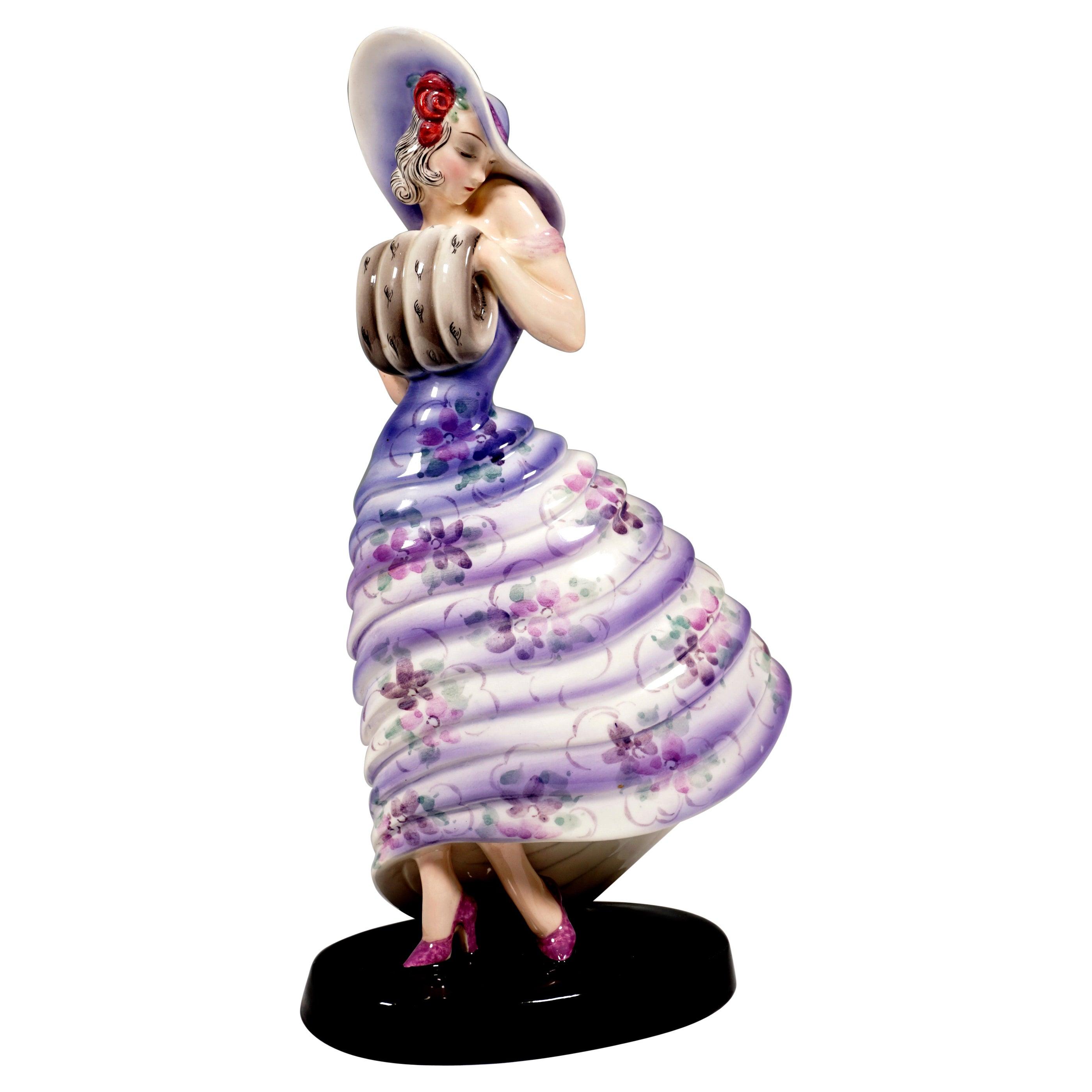 Goldscheider Vienna Figurine, Elegant Lady with a Muff by Claire Weiss, ca 1932