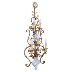 Very Large Wrought Iron Wall Lamp Offset with Glass Crystals by BF Italy