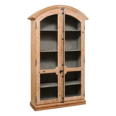 Tall French Two-Door Display Cabinet w/ Nicely Arched Top and Wire Front Doors