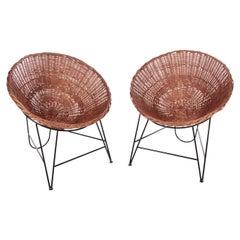Set of 2 Wicker chairs  of Mathieu Matégot, France, 1950
