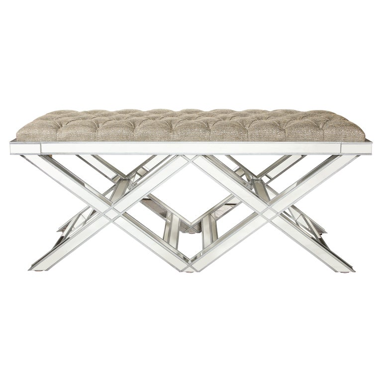 Custom Double Silver Trim Mirrored X-Band Bench For Sale