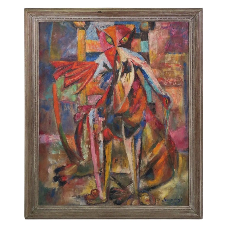 """1953 Francis Jennings Mid Century Modern Painting """"Fat Cat and Bird"""" Oil/ Board For Sale"""