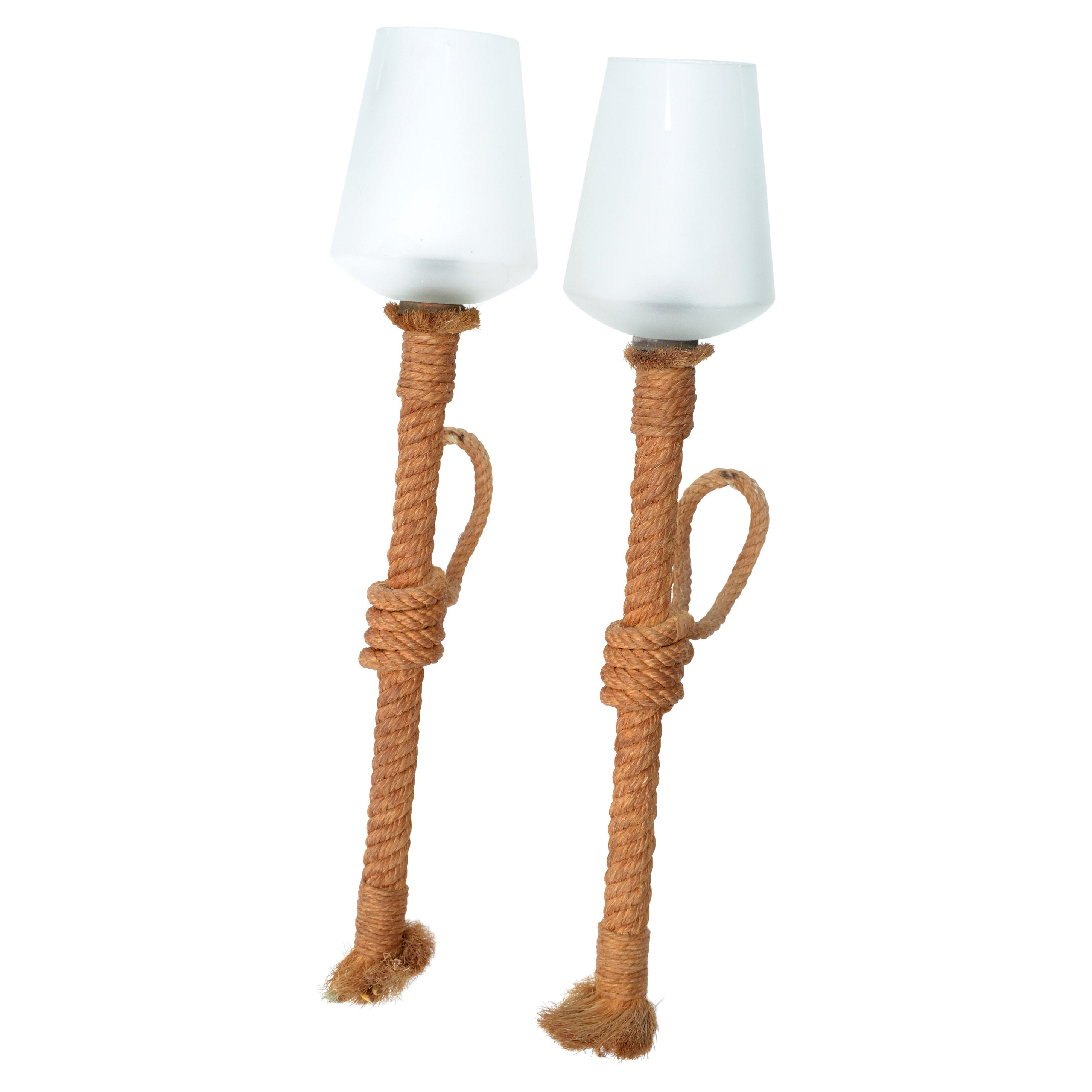 Audoux and Minet Nautical Rope Sconce Frosted Glass Shades France, 1960, Pair