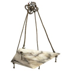 Striking Art Deco White & Black Alabaster Pendant Light w. Silvered Bronze Rope
