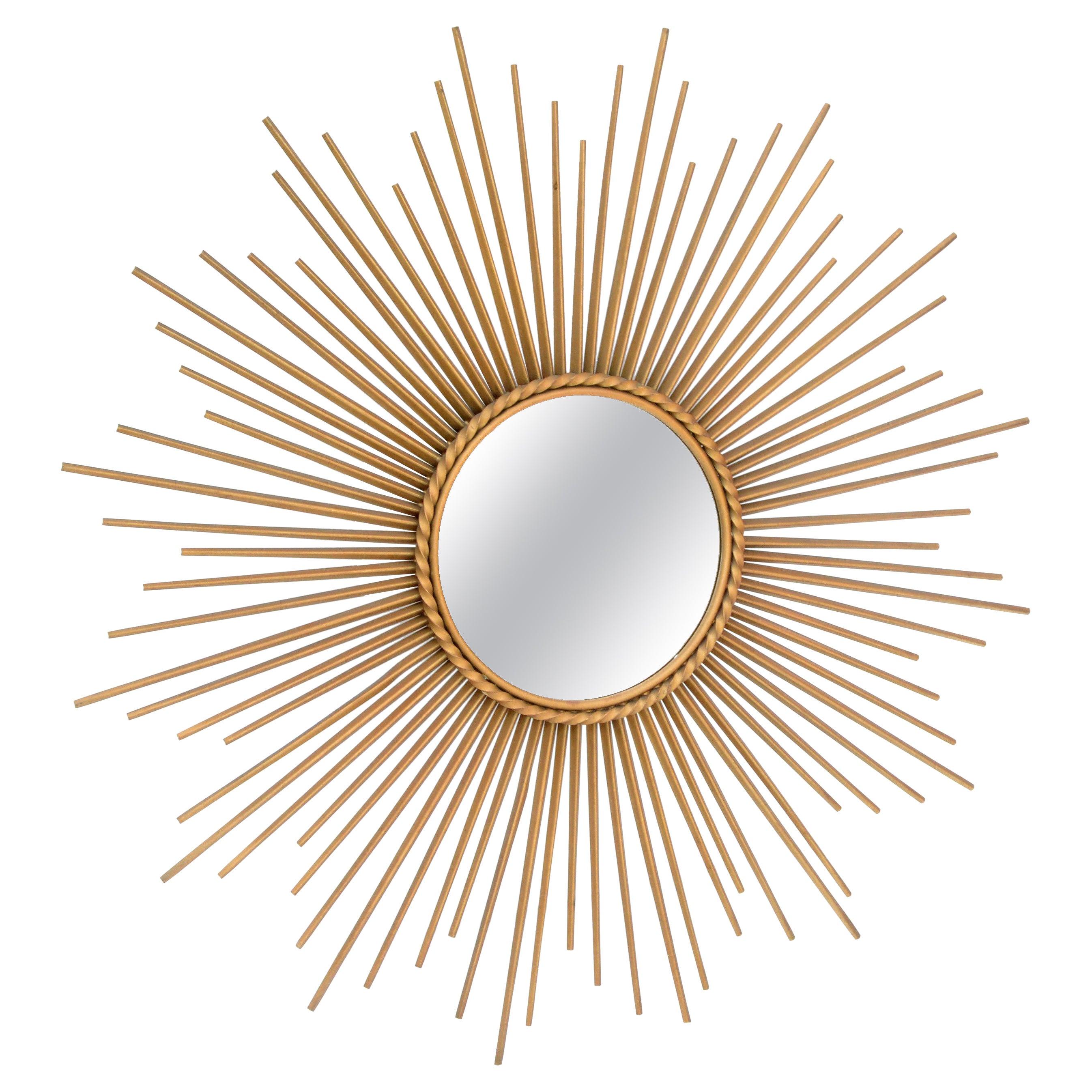 French Chaty Sunburst Mirror Gold Iron Wall Mirror Mid-Century Modern