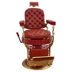 Berninghaus Hercules Red Barber Chair with Custom Detailing Restored
