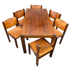 Stunning Midcentury Modern Wengé & Leather Dining Table Set with 6 Chairs