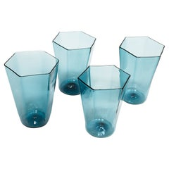 Zev Glass Blue Hex Drinking Glasses for JG Switzer