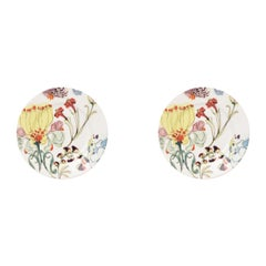 The Grandma's Garden, Contemporary Porcelain Bread Plates Set with Floral Design