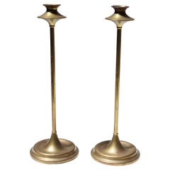 Pair of Art & Crafts Turned Brass Candlesticks after Jarvie