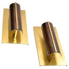 Maison Jansen Rectangular Art Deco Bronze Sconce Semicircle Shade France, Pair