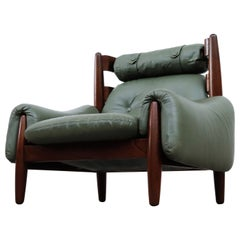 Percival Lafer Inspired Brazilian Lounge Chair with Green Leather