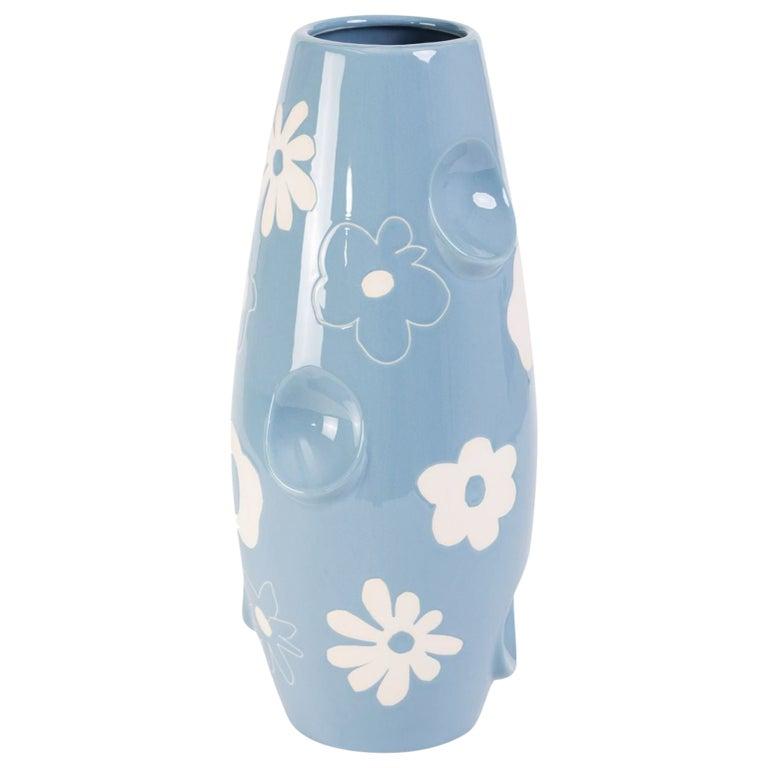 Oko Pop Ceramic Vase, Denim Daisy by Malwina Konopacka For Sale