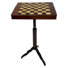 Incredible Rare Mahogany Traveling Campaign Chess Table