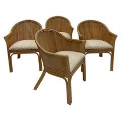 East Hamptonish Set of 4 McGuire Rattan Bamboo & Upholstered Curvy Armchairs