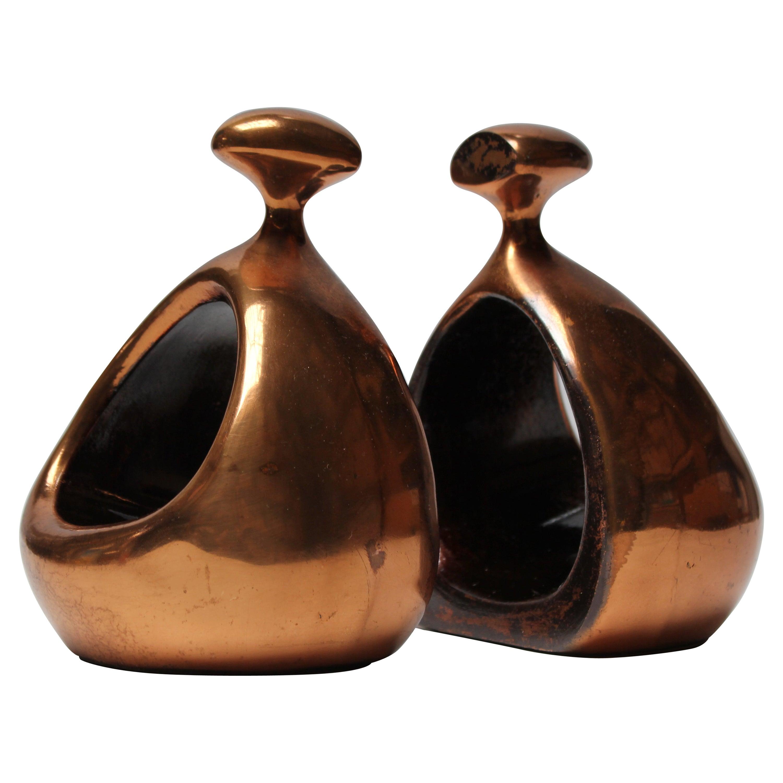 """Ben Seibel Jenfred Ware Copper Finish """"Stirrup"""" Bookends"""