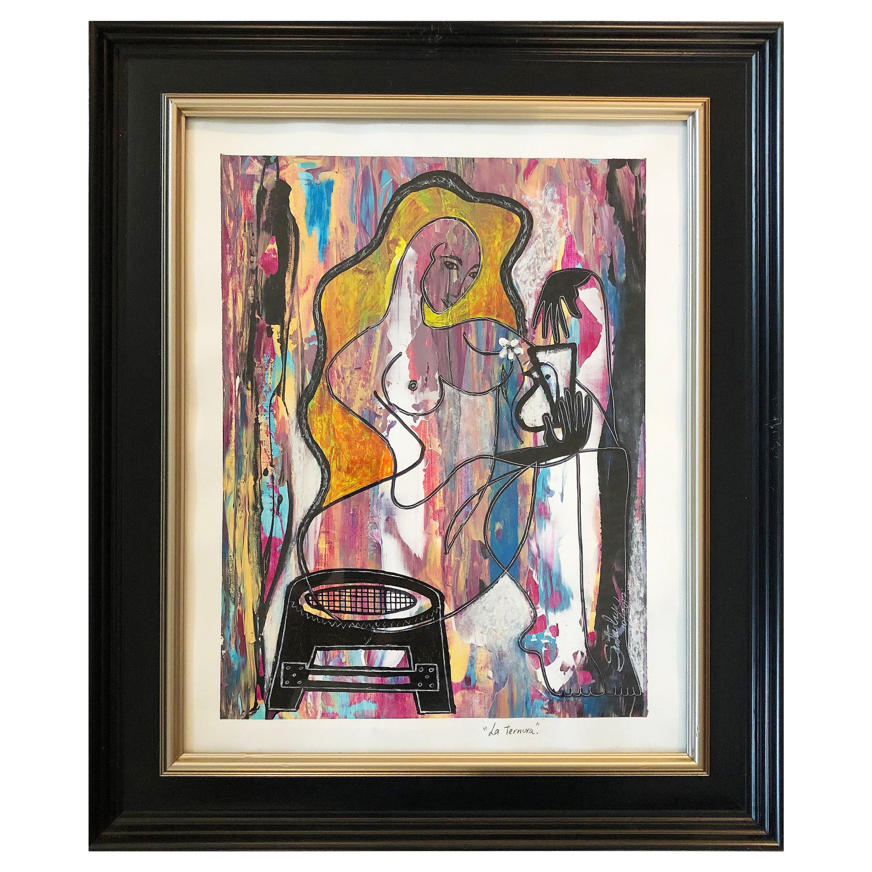 Hiremio Garcia Santaolaya Abstract Painting, Cuban-American Artist