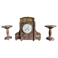 Grand Art Deco Marble Table or Mantel Clock Set w. Gilt Brass, Bronze and Onyx
